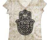 PLUS SIZE - woman hamsa hand print  top, t shirt and tank(160)