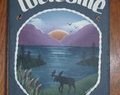 Hand painted Personalized Moose Lake Mountain Slate Welcome Sign