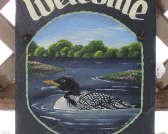 Handpainted Personalized Loon in Lake Slate Welcome Sign