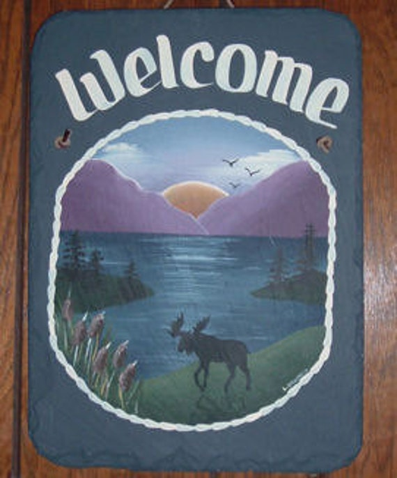 Hand Painted Personalized Moose Lake Mountain Slate Welcome