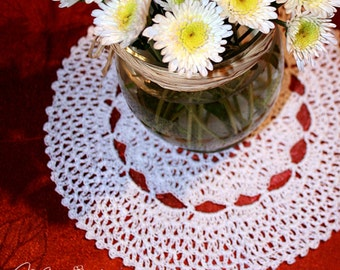 "Crochet Handmade Doily (9"" in diameter) / Vintage Inspired Decor / Unique Gift / Elegant Home Accents / Table Centerpiece / Wedding Decor"