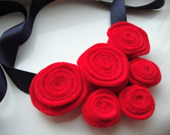 Red and Navy Felt Flower Necklace