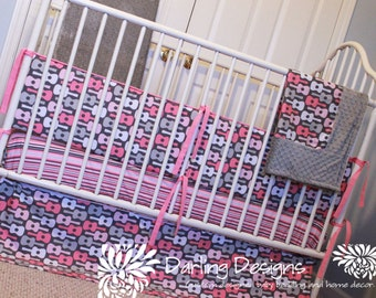 Baby Bedding Set - Design your Own - Custom Made Crib Bedding - Pink and Grey Guitar