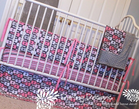Custom Pink & Grey Guitar Bedding by DarlingDesignsLB