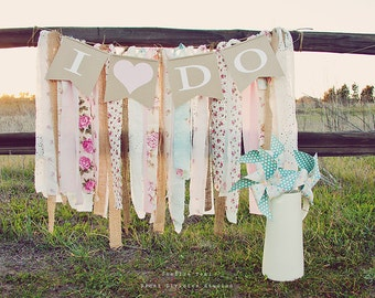 I Do - Wedding Pennant Banner - Shabby, Boho, Rustic Decor