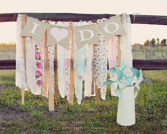 I Do - Wedding Pennant Banner - Shabby, Boho, Rustic Decor