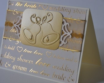 Hand made wedding card with gold embossed bells