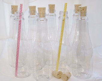 CORK BOTTLES  8ounce Party  / Favor Sized Clear Plastic - Invitation supply - Sand Art Craft (set of 12) Pirate - Princess Party   -Wedding-