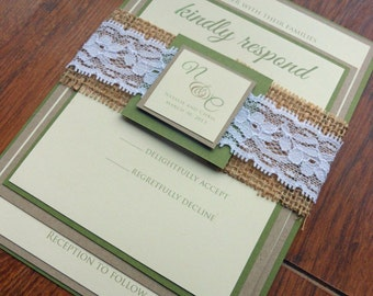 Burlap & Lace Green/Brown/Yellow Wedding Invitation - Olive Green/Kraft paper