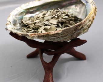 Smudging Kit, abalone shell with stand and sage