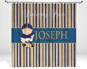 Football Player Personalized Custom Shower Curtain Monogram with Name or Initials perfect for any bathroom