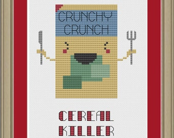 Cereal killer: funny cross-stitch pattern