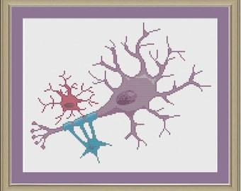 Neuron: nerdy science cross-stitch pattern