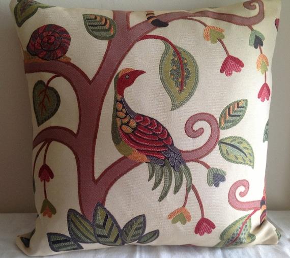 Throw Pillows Bird Design : Decorative pillow 20x20 stylized bird design woven fabric