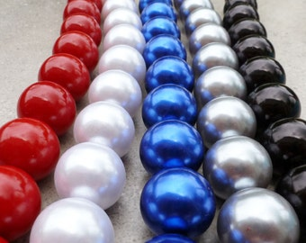 22mm Acrylic  Pearl Beads - Strand/14  -  Chunky Necklaces - Red, White, Blue, Silver, OR Black