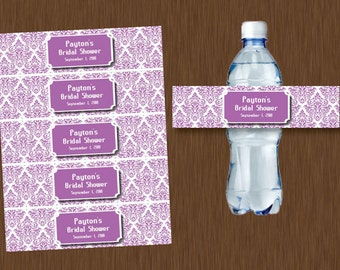 Instant DOWNLOAD purple lavender lilac Damask Water Bottle Labels Printable Bridal Shower Wedding Birthday Party Favor Personalized