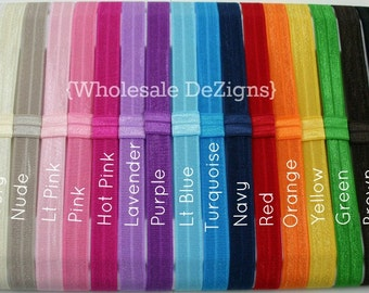 "FOE Elastic Headbands with Interchangeable Loop - Your Choice - Fold Over Elastic DIY headbands 5/8"" You Choose"