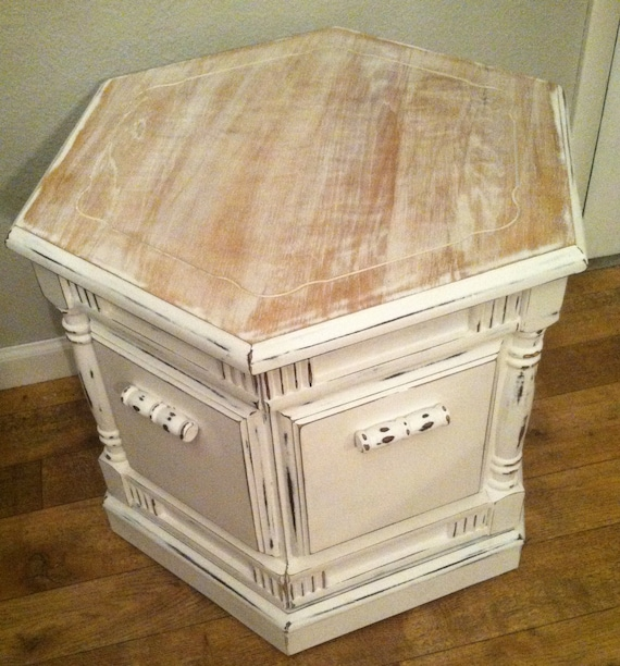 Vintage 70 S Hexagon End Table