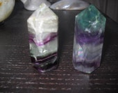2 Thick Green & Purple Fluorite Crystal Heavily Polished Points with Rainbows New Great for display specimens or jewelry