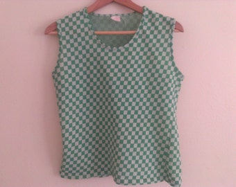70s vintage women's large green and white checkered shirt, large snag on back side