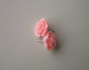 White Peach Resin Rose Post Earrings