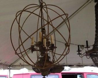 Sphere iron  chandeliers a pair four  light 24'Hx 18D