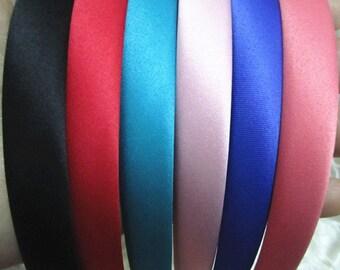 30pcs Mixed color (6color) Fabric  plastic  Headband 14mm Wide