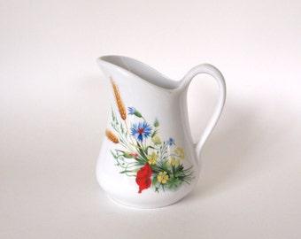 Vintage Pitcher Milk Jug Pillivuyt French Porcelain with Flower Design - 19 oz - Made in France