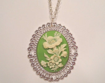 Green Flower Cameo Necklace on Bright Silver Tone Necklace Unique Jewelry, Mother's Day Gift Ideas