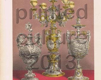 Group Of Silver Vases - England, Original Antique Print, chromolithograph,  C1860s