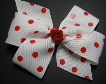 You Pick Dot color Classic Style Red Polka Dot Hair Bow Simple Traditional Basic Toddler Girl