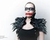 Victorian feather shrug black with ruffles burlesque goth Halloween raven crow costume Gogo