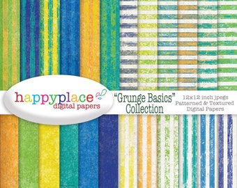 Basic Grunge Blue Green and Yellow Digital Papers for Personal & Commercial Use Scrapbooking, Backgrounds