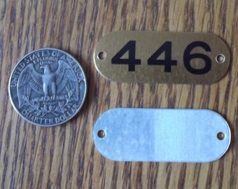 Number 446 - 1 Aluminum Metal Number Tags School Locker Plates for Altered Art in Brass