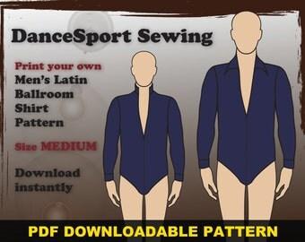 Men's Latin ballroom shirt PDF downloadable sewing pattern SIZE MEDIUM