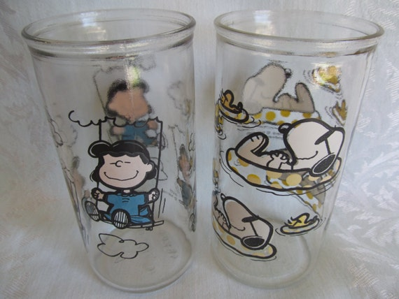 Vintage Peanuts Jelly Jar Glasses Snoopy and Lucy