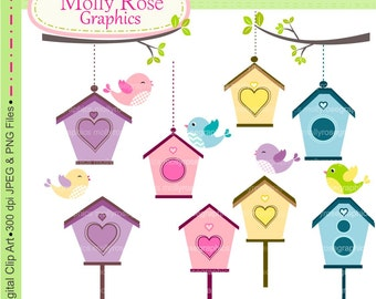 bird clip art , Digital Clip Art bird and birdhouse, Invitations, Card Making, Scrapbooking  M.44