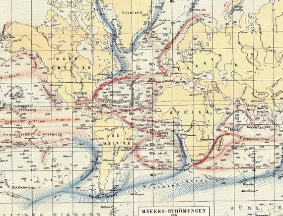 1895 Warm and Cold Ocean Currents of the World with Depth Figures Antique Map