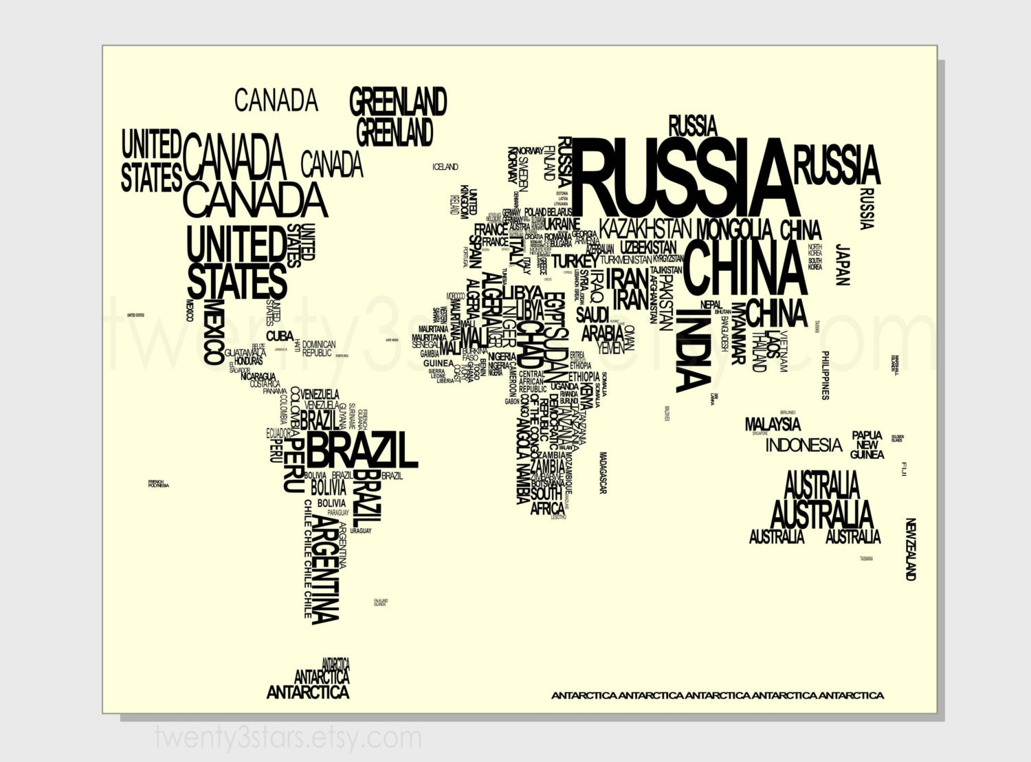 World Map Typography Art Print Choose Any Colors Typographic