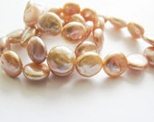 Coin Freshwater Pearls, Natural Pearls, Round, Peach, Flat, AAA, 9-10mm, Half Strand, 8 inches, 16 pearls
