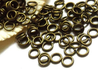 50/100 Antique Bronze Jump Rings 6mm, Closed Loop - 11-AB-6CL