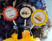 Construction Party Cupcake Toppers , Construction Cupcake toppers