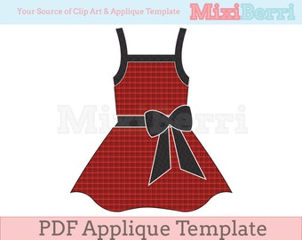 Red Dress Applique Template Pattern PDF