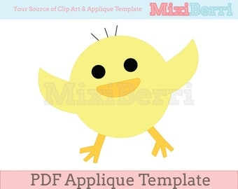 Happy Chick Applique Template PDF Instant Download