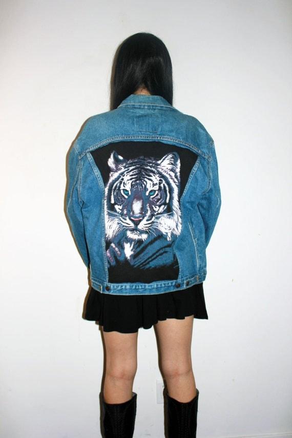 White Tiger Vintage Levi S Denim Jacket Hipster Tiger