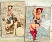 Pinup Girls Greeting Cards 2.5x3.5 inch - Digital Collage Sheet - Digital Cards - Printable Cards - PINUP CRAZY GIRLS