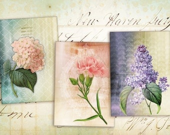 Greeting Cards 2.5x3.5 inch - Digital Collage Sheet - Gift Tags - Jewelry Holders - Digital Backgrounds - Instant Download - MOON FLOWERS