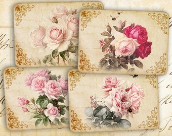 Pink greeting cards Vintage printable images Digital collage sheet Printable instant download Paper craft Paper goods - FLOWERS from the SKY