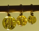 Yellow Crackle Glass bead handmade stitch markers for knitting (Qty 12)