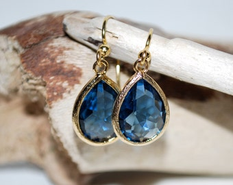 Montana blue. Glass gem drop earrings, blue and gold earrings, teardrop earrings,  spring/summer earrings